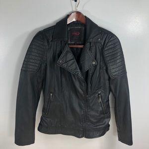 Yoki Vegan Leather Black Moto Jacket Size Large